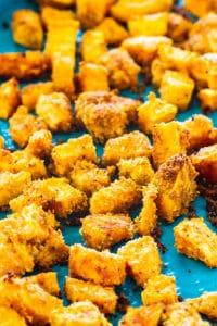 Shake and Bake Sweet Potatoes on baking sheet.