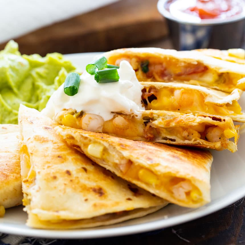 Quesadillas with Shrimp, Bacon, and Corn