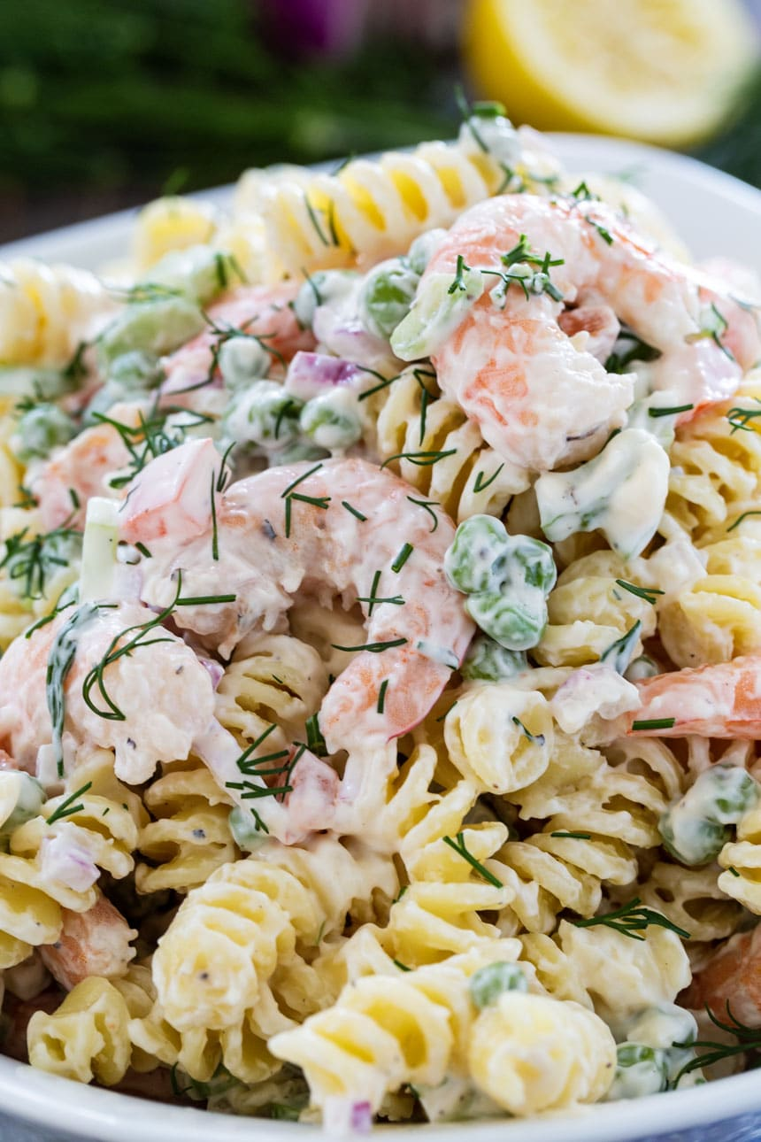 Close-Up of Shrimp and Dill Pasta Salad