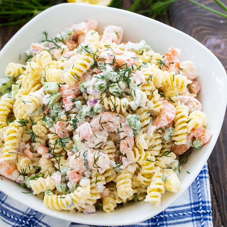 Pasta Salad with Shrimp and Dill in a white serving bowl.