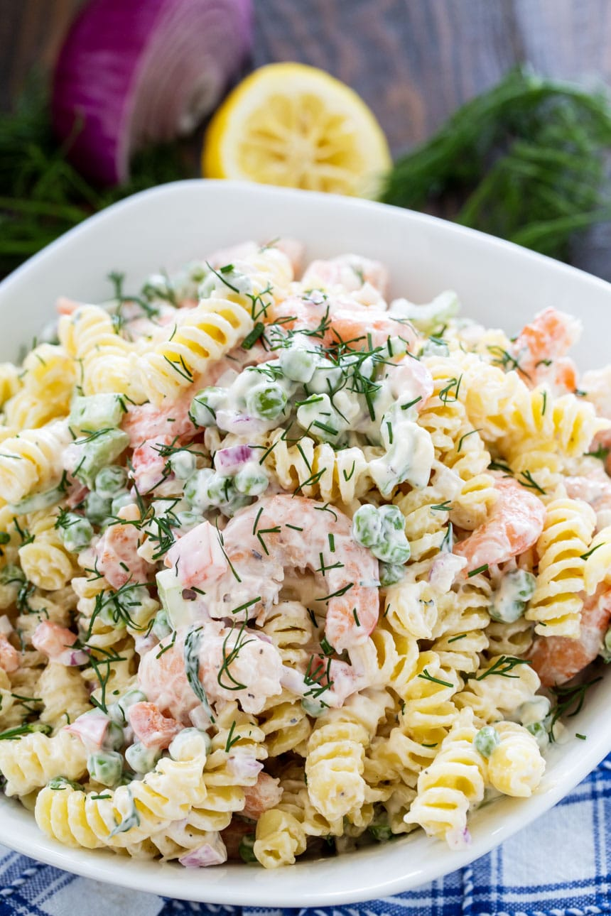 Shrimp and Dill Pasta Salad close-up