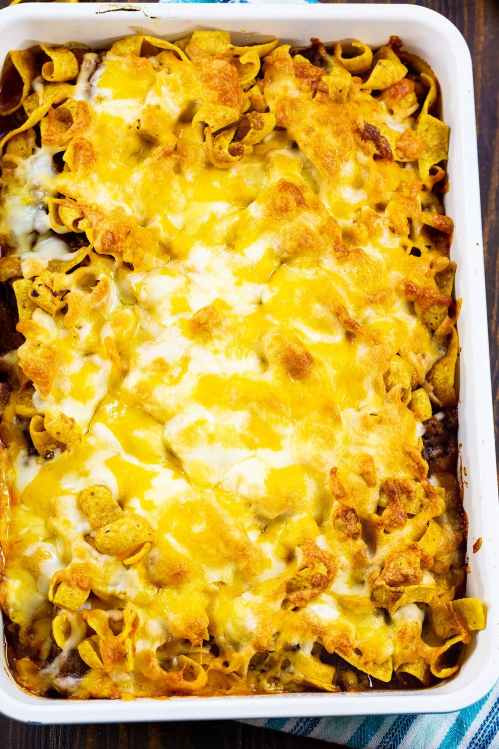 Overhead of Frito Casserole in a 9x13-inch pan.