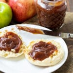 Close-up of Apple Butter on English muffins.