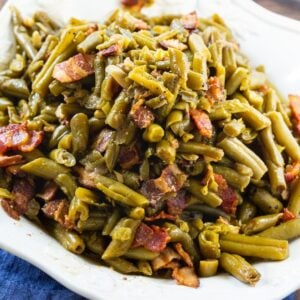 Canned green beans cooked in the slow cooker
