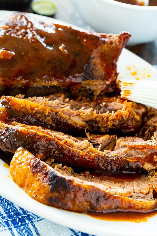 Close-up of Slow Cooker Brisket slices.
