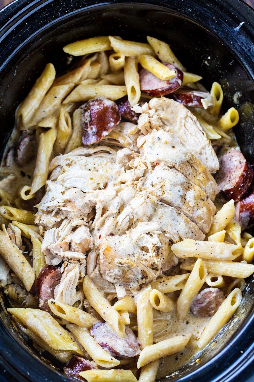 Cajun Chicken Alfredo in a slow cooker.