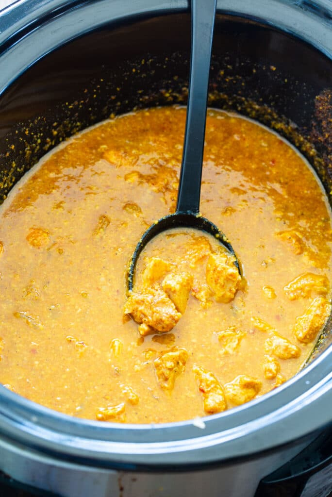 Chicken Korma in a slow cooker.