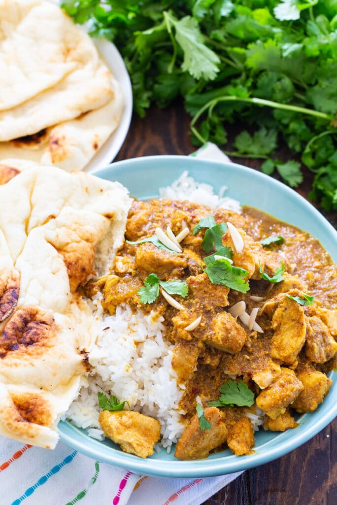 Chicken Korma over rice with naan.
