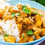 Chicken Korma on top of rice.