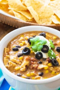 Slow Cooker Chicken Tortilla Soup in a bowl.