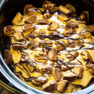 Chocolate Peanut BUtter Cake in a black slow cooker.