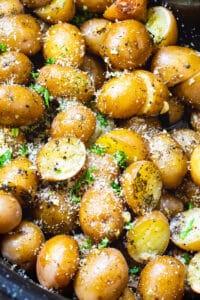 Garlic Parmesan Potatoes in a slow cooker.