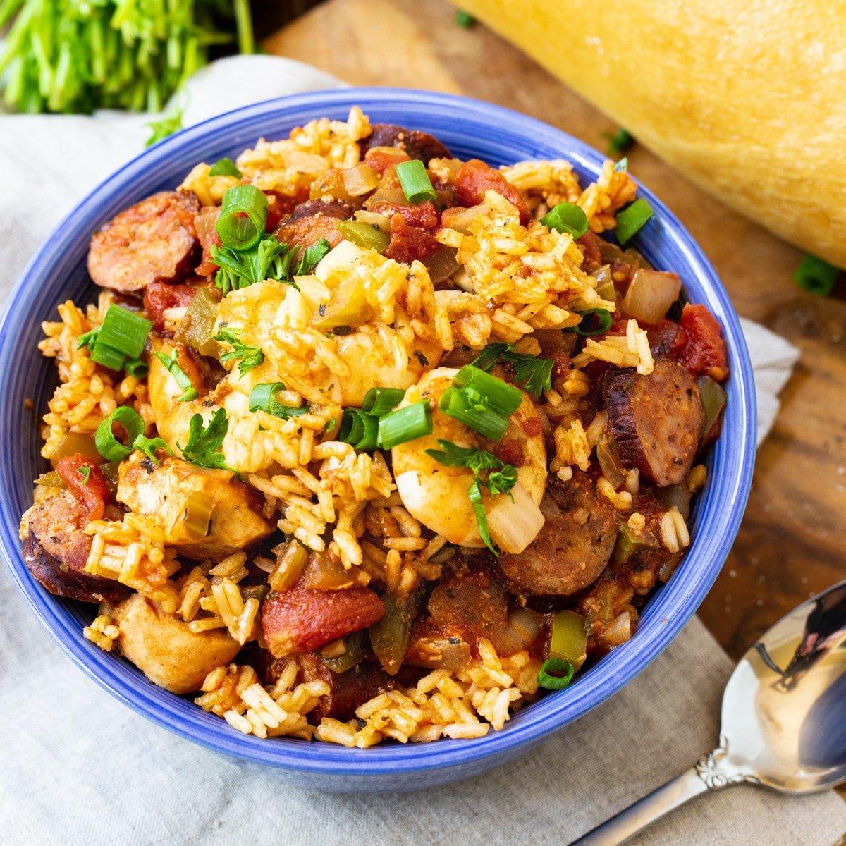 Slow Cooker Jambalaya in a bowl.