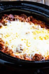 Slow Cooker Lasagna in a black crockpot.