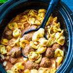 Tortellini Soup in a crock pot.