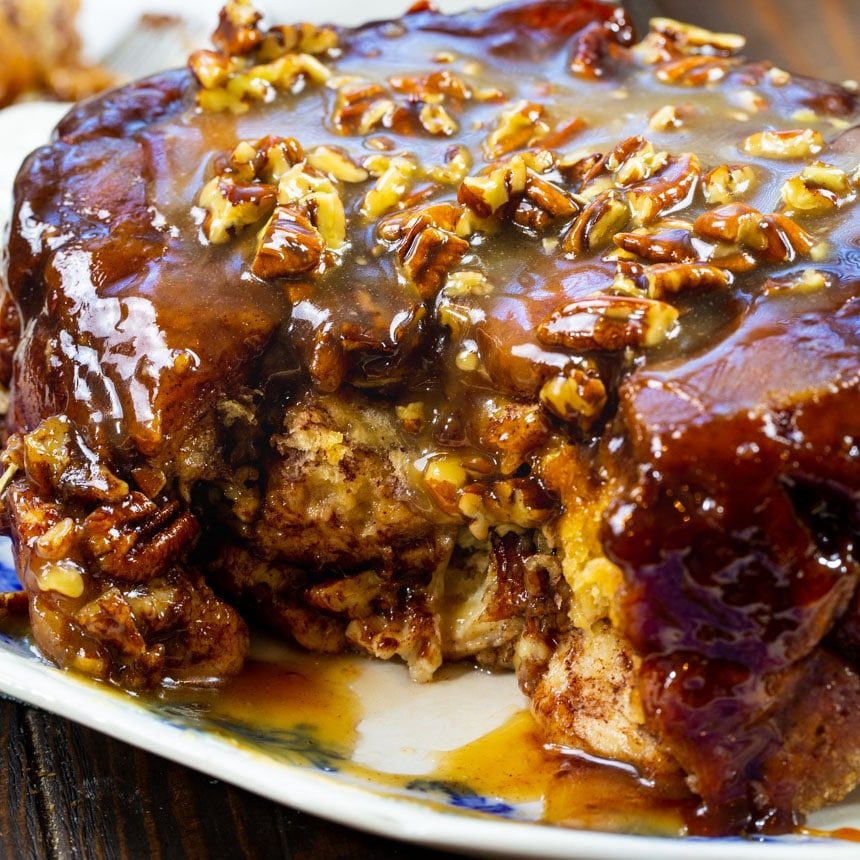 Slow Cooker Monkey Bread with a piece cut away.