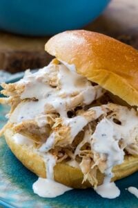 Slow Cooker Pulled Chicken with Alabama White BBQ Sauce