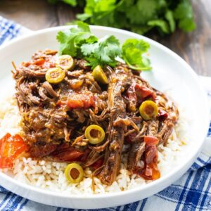 Ropa Vieja served over white rice.