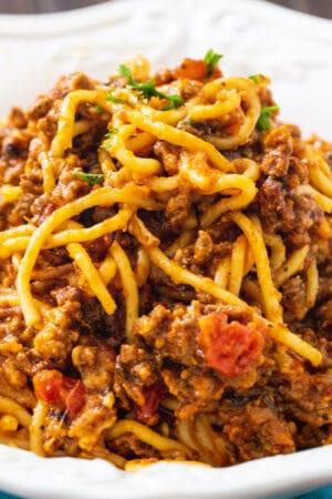 Slow Cooker Spaghetti Casserole in a bowl.