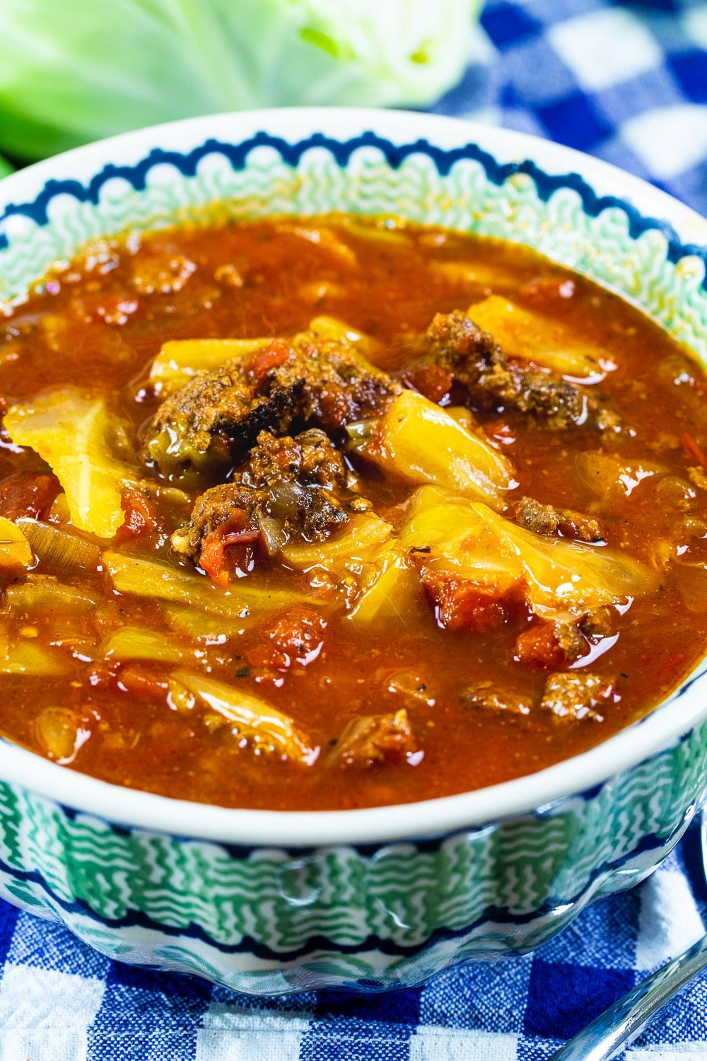 Bowl full of Slow Cooker Spicy Cabbage Beef Soup