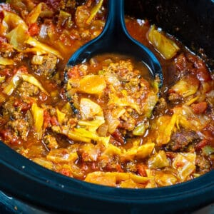 Cabbage Beef Soup in a slow cooker.