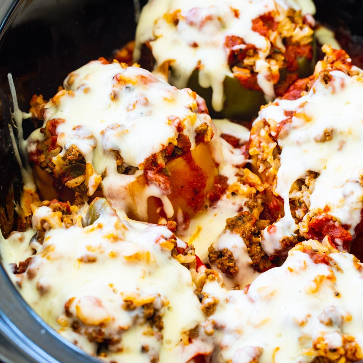 Slow Cooker Stuffed Peppers in a slow cooker.