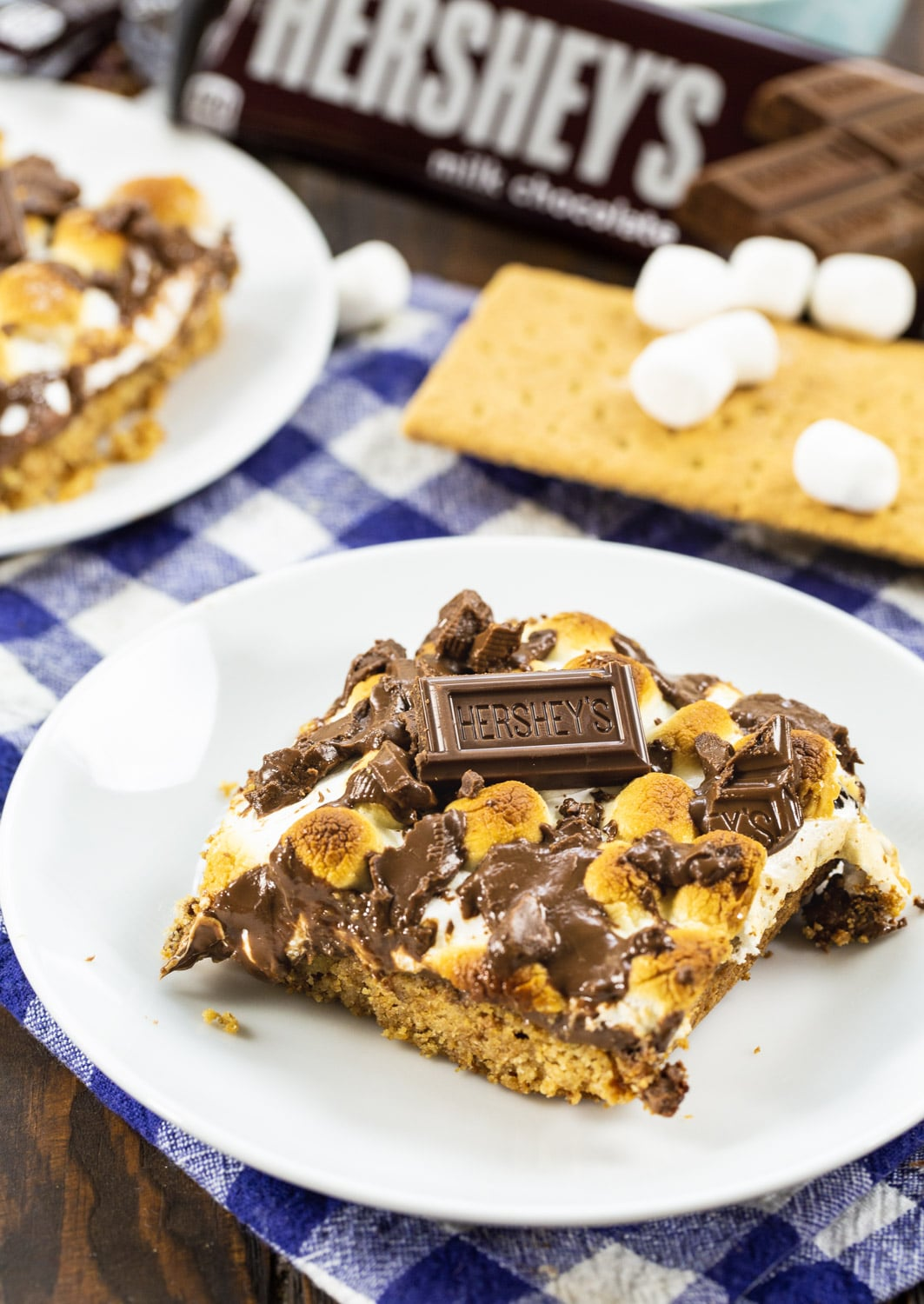 S'mores Bars surrounded by graham crackers and marshmallows.