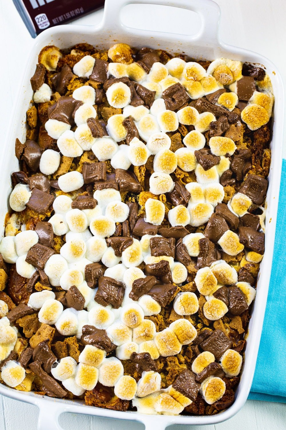 S'mores-style bread pudding in a 9x13-inch baking dish.