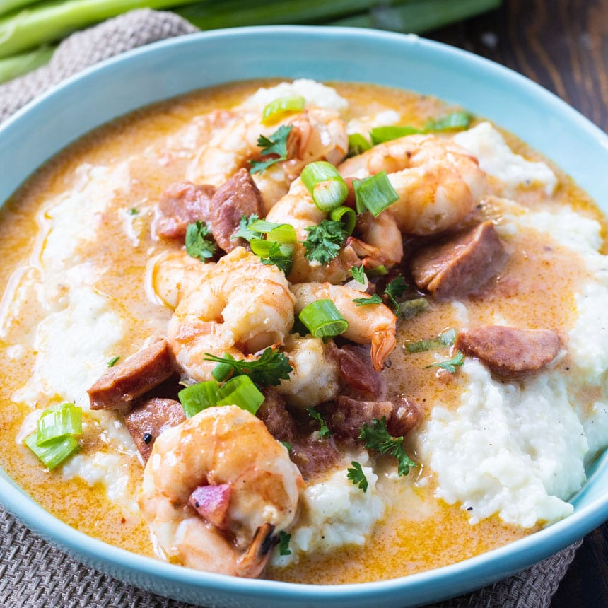 Shrimp and Grits in a blue bowl.