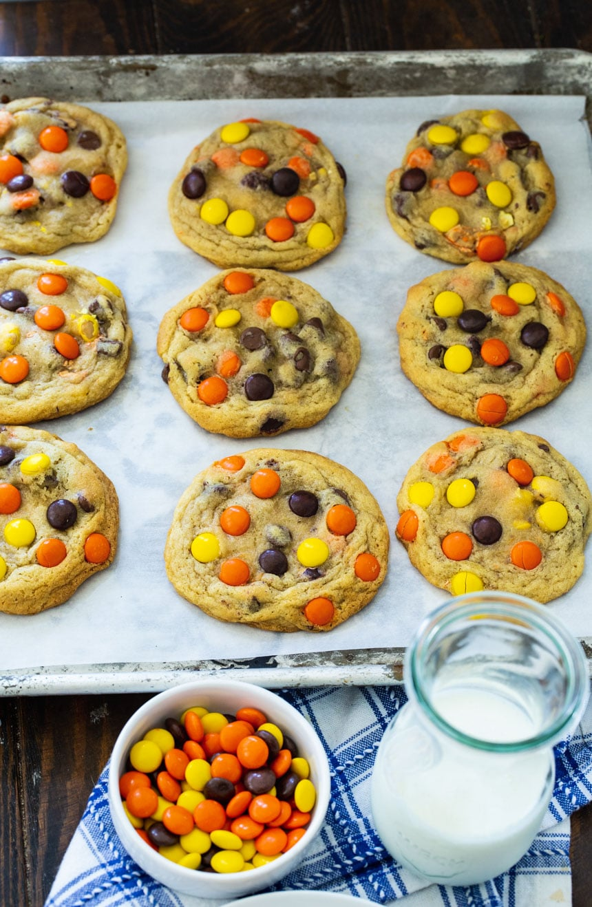 Reese's Pieces Cookies on a baking sheet