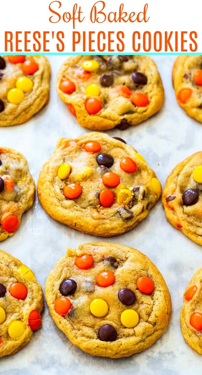 Reese's Pieces Cookies on a baking sheet.