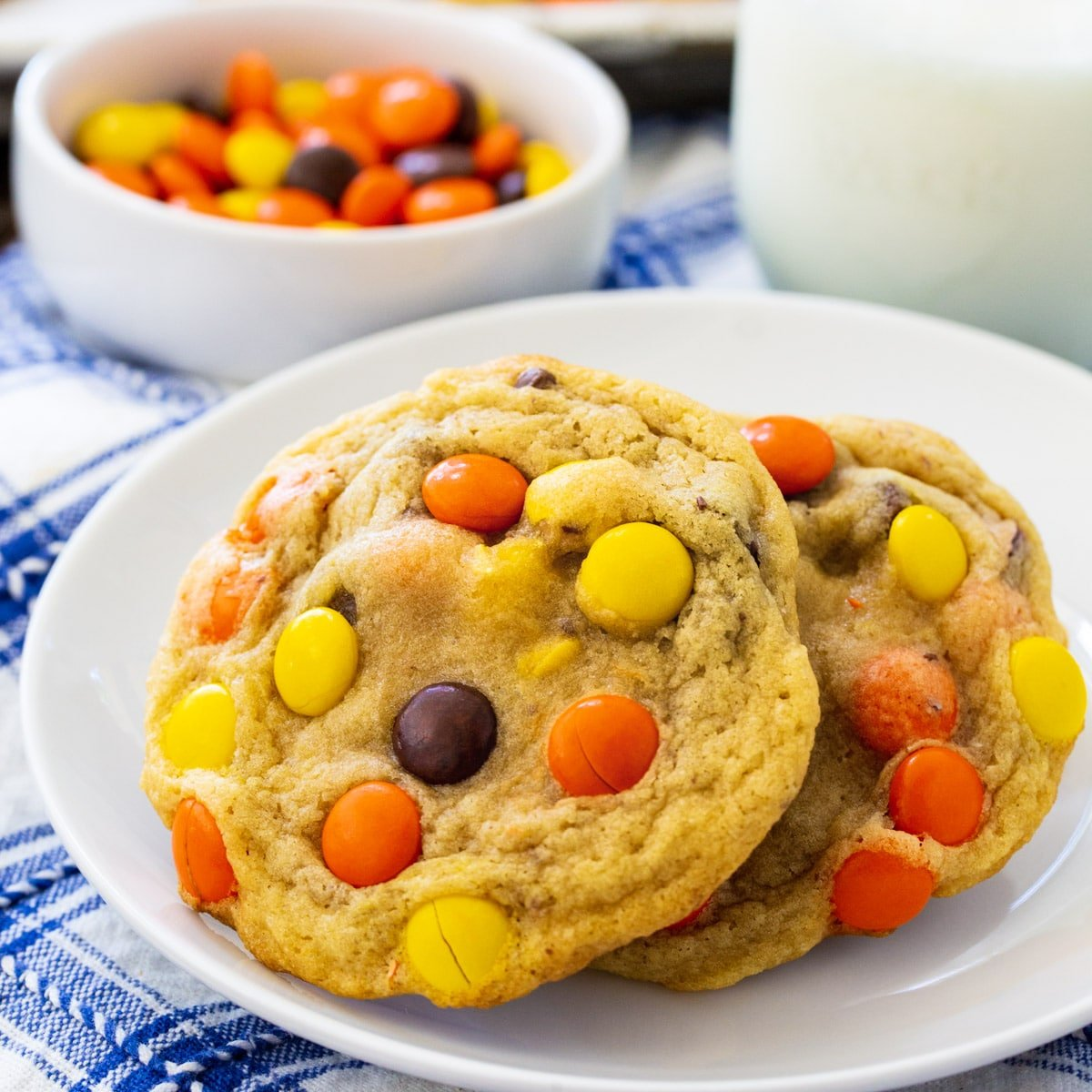 Soft-Baked Reese's Pieces Cookies on a plate.