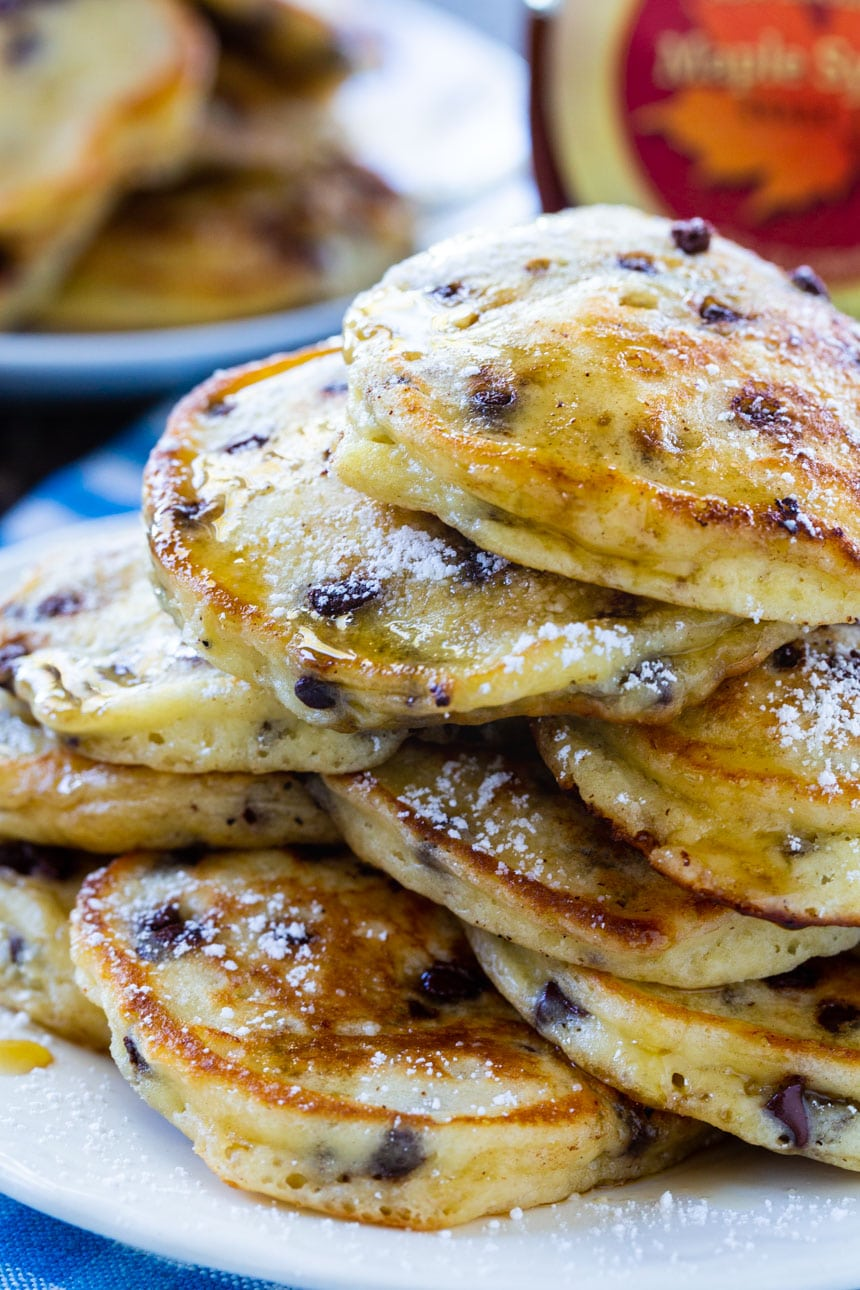 Close-up of stack of pancakes.