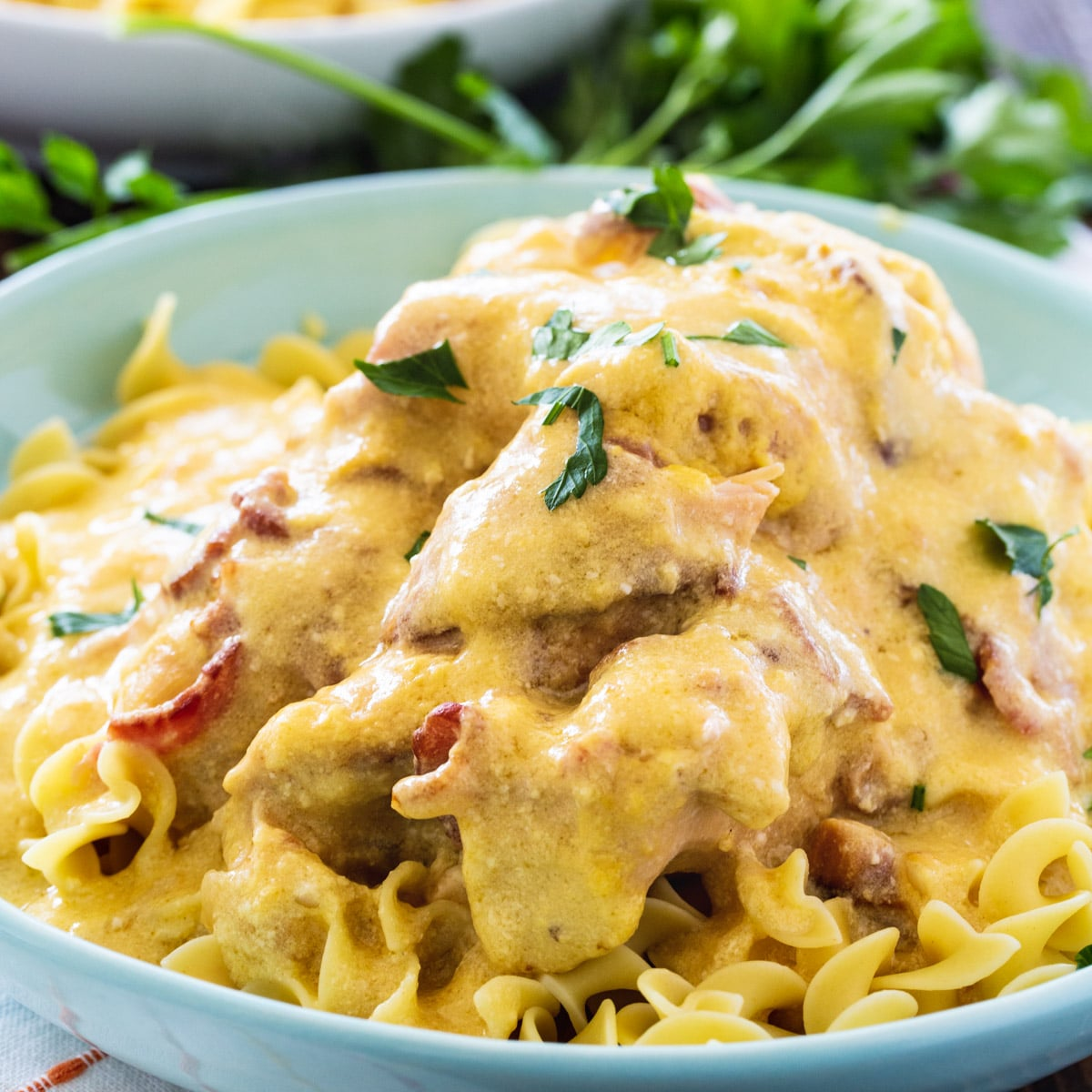 Sour Cream and Bacon Chicken over noodles in a bowl.