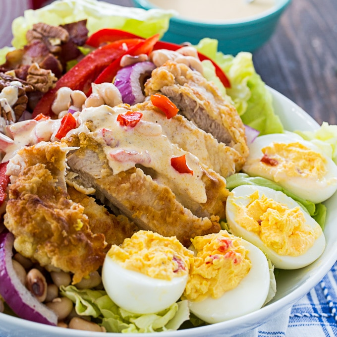 Southern Cobb Salad with deviled eggs