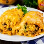 Two Southwestern Chicken Lasagna Roll-Ups on a plate.