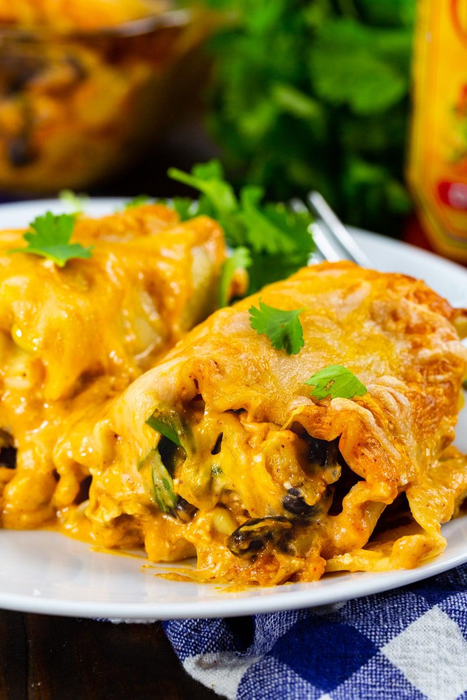 Southwestern Chicken Lasagna Roll-Ups on a plate.