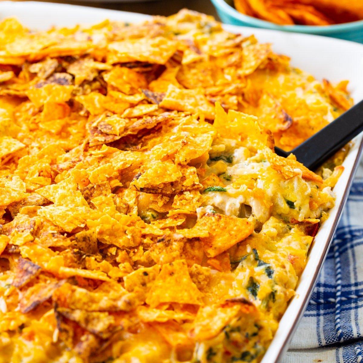 Southwestern Turkey Casserole in baking dish.
