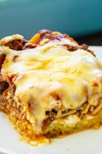 Slice of Spaghetti Casserole on a plate.