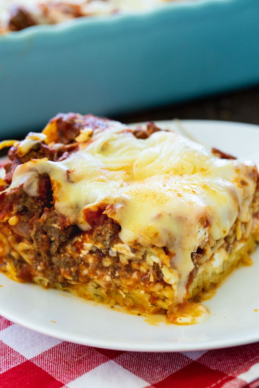 Slice of Baked Spaghetti Casserole on a plate