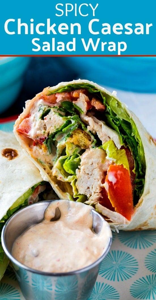 Spicy Chicken Caesar Salad Wrap