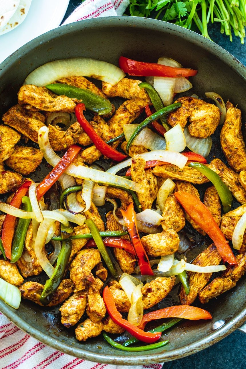 Chicken Fajitas in a large skillet.