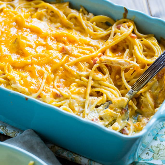 Spicy Chicken Spaghetti is so cheesy and good with lots of spice.