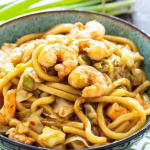Spicy Udon with Shrimp in a bowl