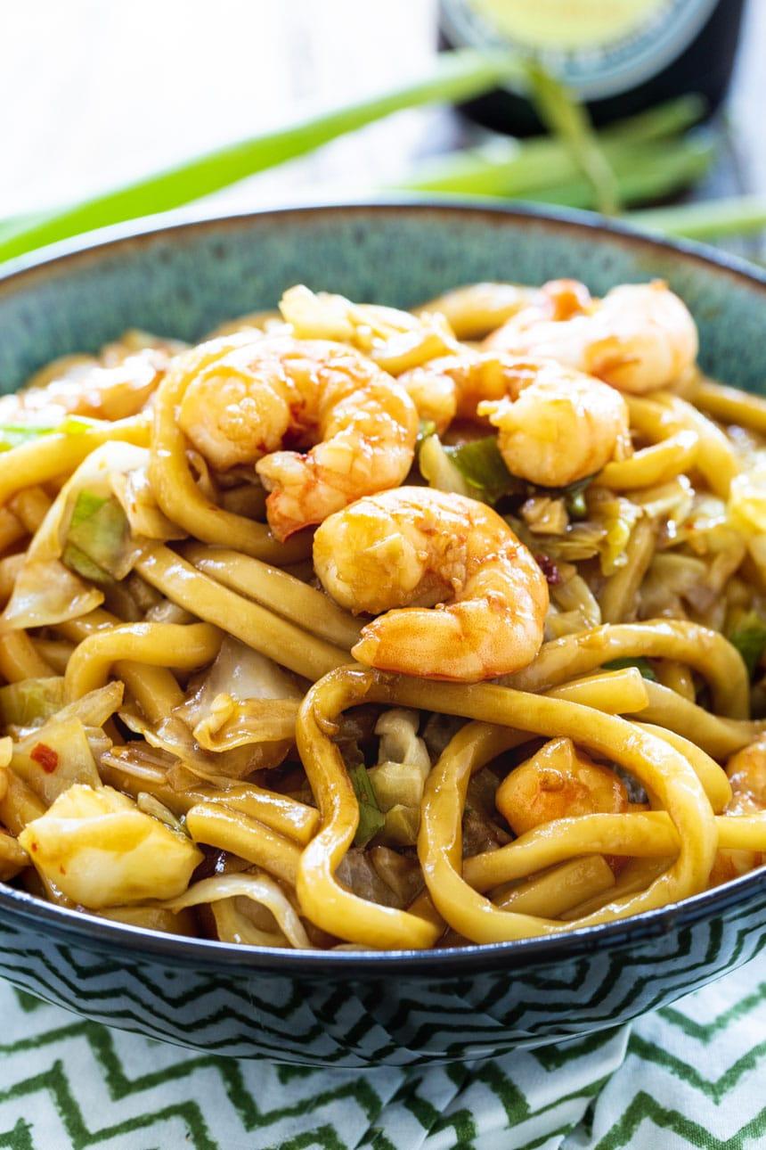 Spicy Shrimp Udon in serving bowl