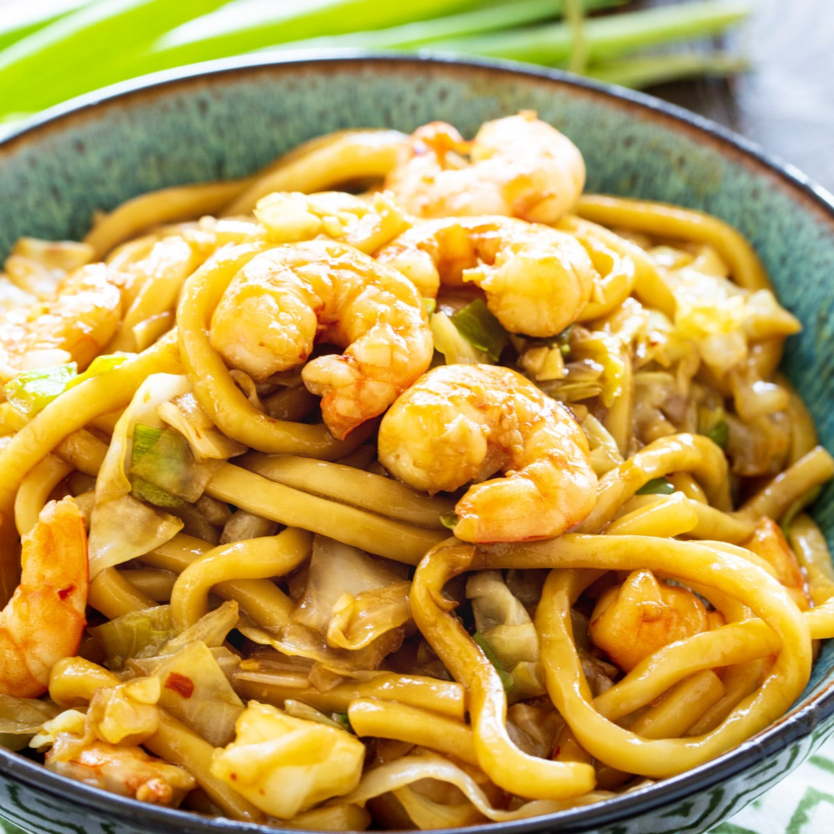 Spicy Shrimp Udon in a bowl.