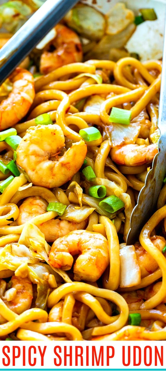 close-up of Spicy Shrimp Udon