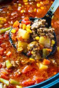 Spicy Vegetable Beef Soup in the slow cooker