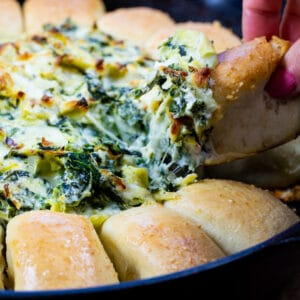 Bread Ring with Spinach Artichoke Dip in the middle.