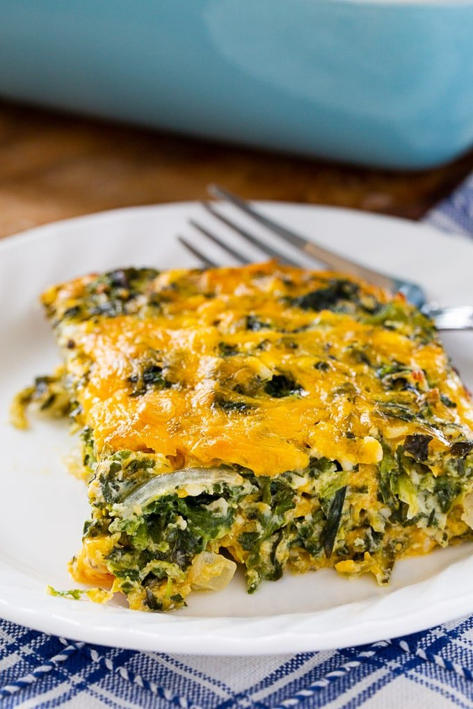 Spinach and Cheese Casserole cut into squares